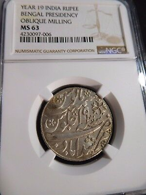 INV #T145 India Bengal Presidency YR-19 Rupee Oblique Milling NGC MS-63