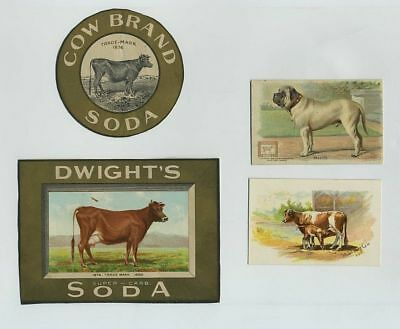 (4) Early Dwight's Cow Brand Baking Soda Advertising Trade Cards & Labels cv2544