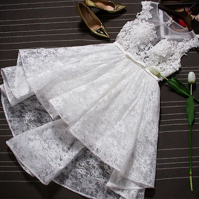 Custom  Short Lace Appliques White/ivory Wedding Dress Bridal Gown Size 4-26+