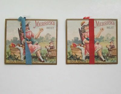 Lot (2) 1887 Open-Book Advertising Trade Cards Sewing Beautiful Girl Doll cv1900
