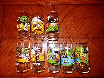 NEW McDonald's Peanuts Camp Snoopy Vintage Glasses Complete Set of 5 + 3 Extra!