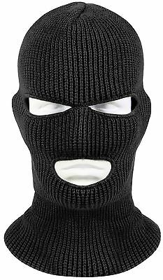 3 Hole Black Face Mask Ski Mask Winter Cap Balaclava Hood Army Tactical Mask