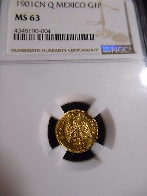 INV #T169 Mexico 1901-Culiacan Q GOLD Peso NGC MS-63 Mintage of 2,350