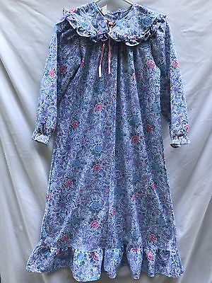 Vintage Girls Floral Ruffled Nightgown Cassie Made In USA Sz 12 Roses