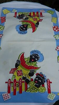 "Vintage 40s Authentic Black Americana Towel 26""  x 16"" Watermelon mammy"