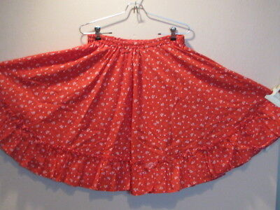 """2823 Red with White Hearts and Bows Print Skirt, Waist 26-42"""", 21"""" Long"""