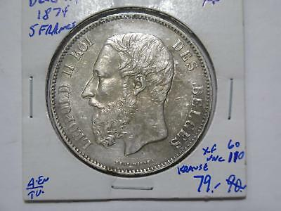 Belgium 1874 5 Francs Leopold Ii Silver Crown Size Old World Coin Collection Lot