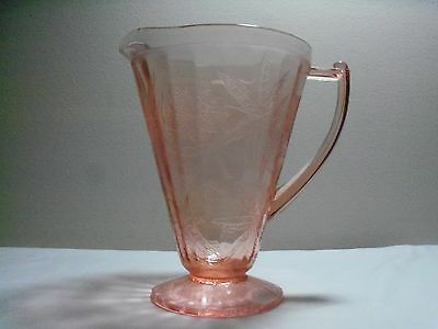 *Pink Depression Glass Floral Poinsettia Pitcher 1931 - 1935