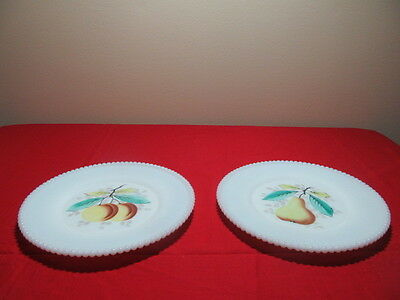 Westmoreland Beaded Edge Decorated Fruit Design 2 Luncheon Plates