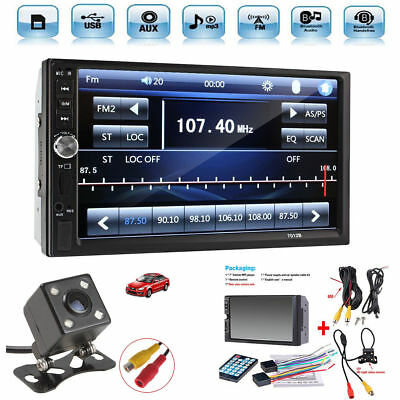 2 DIN 7'' Car Stereo Radio MP5 Player Bluetooth HD Touch Screen + Rear Camera