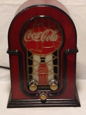 "Retro Looking Stained Glass AM/FM Coke Cola Radio with Light 12"" x 9"""