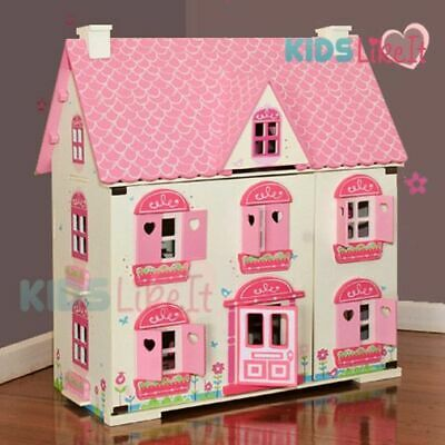 Back order GIRLS Pink Wooden Pretend Play Doll House w/ Full Furniture SET