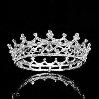 Queen Austrian Crystal Rhinestone Full Hair Crown Tiara Prom Bridal Wedding T43
