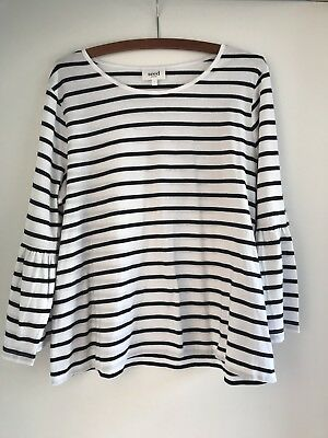 Seed Women's White Navy Striped Peplum Top Size L As New!