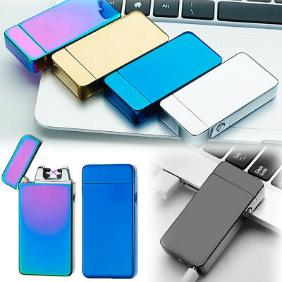 Electric USB Cigarette Dual Arc Plain Lighter Windproof Plasma Rechargeable New