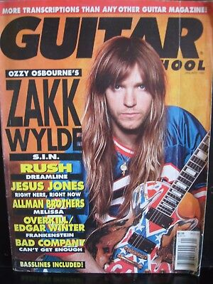 Guitar School Magazine January 1992 Zak Wylde on the cover