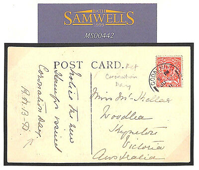 MS442 1911 GB KGV *Downey* PPC 'Notice New Stamp Issued Coronation Day' MESSAGE
