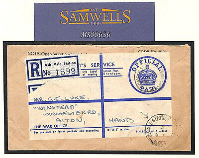 MS656 1954 GB SURREY RAILWAY *Ash Vale Station* Army Medical Corps HQ OHMS Cover