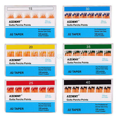 Dental Endodontic Gutta Percha Points 15-40# 120 Points/pack Color Coded CE