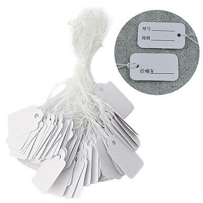 500Pcs Jewelry Watch Merchandise Paper Price Tags String Hanging Label 26X15mm