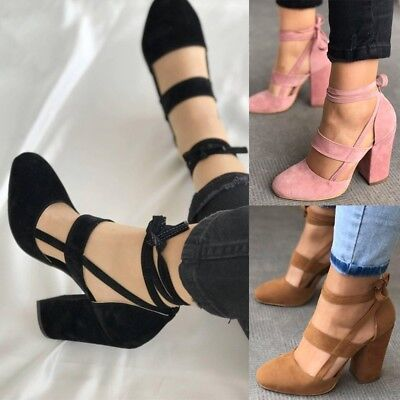 1 Pair Ankle Straps High Heels Shoes Suede Thick Heel Sandals