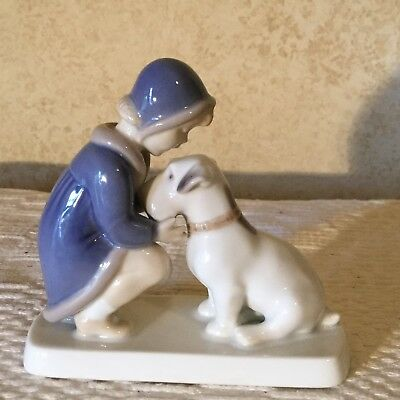 ADORABLE VINTAGE FIGURINE ROYAL COPENHAGEN B&G BING & GRONDAHL Dog & Child #2163