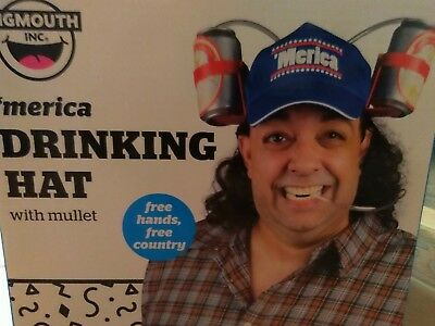 Party Bigmouth inc Drinking hat 'Merica Mullet Hair Beer  soda can Holder Straw