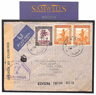 MS2056 1942 WW2 *CENSURE CONGO BELGE* Airmail GOLD COAST *Censor 7* Cover