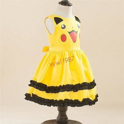 Newest Pikachu Cosplay Pokemon GO Girls' Clothing Dress Toddler Princess Party