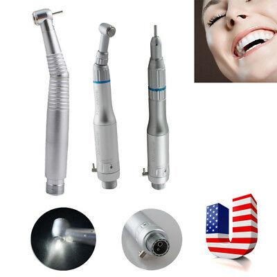 Dental LED High Speed 2H 3 Way Spray Handpiece +Low Speed Hand Piece 2 Hole Push