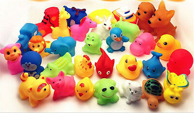 Cute 13Pcs Mixed Animals Colorful Soft Rubber Float Squeeze Baby Wash Bath Toys