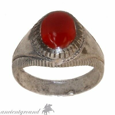 Intact Medieval Decorated Solid Silver Ring With Nice Red Glass Stone