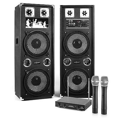 """Home Karaoke Party System Active Speakers 160 W 10"""" 2X Wireless Mics"""