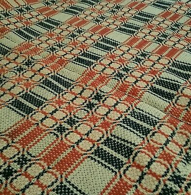 Antique Woven Coverlet. Wool Three Colors Rust Ecru and Indigo Blue Overshot