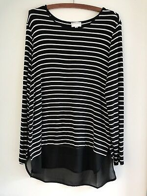 Witchery Women's Navy White Striped Top Size M Excellent Condition