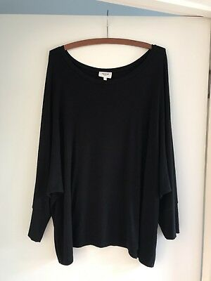 Seed Women's Black Ribbed Asymmetrical Top Size M Great Condition