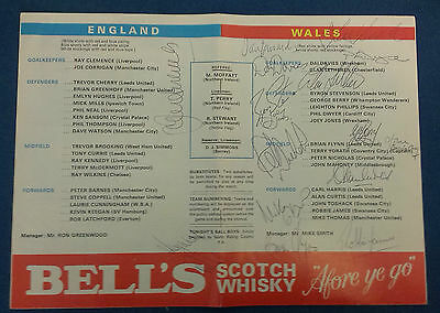 1978-79 England V Wales Signed Programme. X 16 Wales Players. From Wales Player