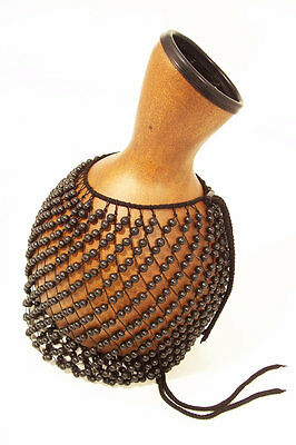 Large Fibreglass Afro-Cuban Shekere 34cm tall with adjustable bead net