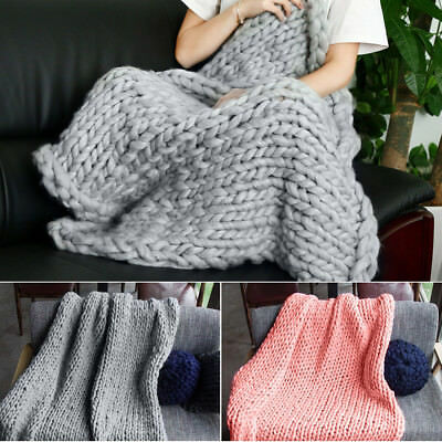 Chunky Knitted Thick Blanket Hand Yarn Bulky Knit Throw Sofa Blankets Grey Pink