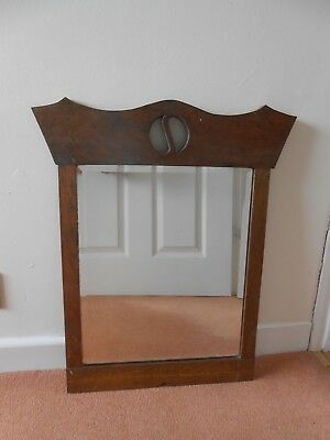 Arts And Crafts Oak Framed Bevelled Edge Mirror With Yin And Yang Cut Out Design