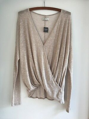 Abercrombie & Fitch Women's Beige Knit Top Jumper Size M New With Tags!