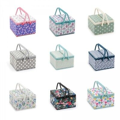 Sewing Box Twin Lid  Square Knitting Sewing Basket Craft