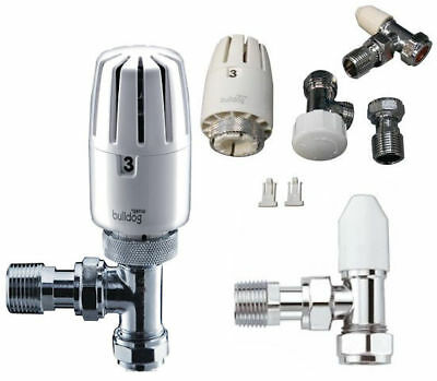 Pegler Bulldog 8/10/15 Angled TRV Thermostatic Radiator Valve & Lockshield Packs