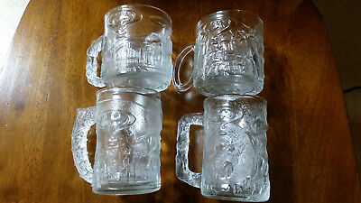 Set Of 4 Mcdonalds 1995 Batman Forever Glasses Mugs Batman Robin Riddler 2 Face