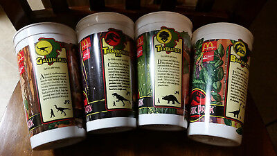 McDonald's Jurassic Park Cups - Set of 4 - NEVER USED