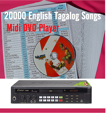 Brand New 20000 English & Togalog Songs  MIDI karaoke dvd player