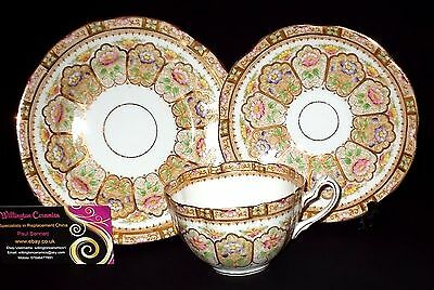 ANTIQUE William Lowe (Longton) CROWN Breakfast Cup, Saucer & Side Plate - TRIO