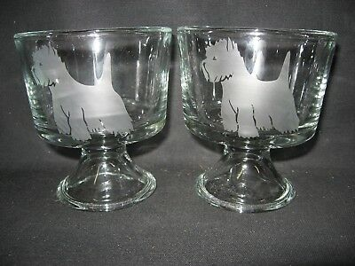 2 New Etched West Highland Terrier Glass Mini Trifle Fruit Dessert Bowls