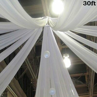 White 30 x 10 ft Premium Sheer Voile BACKDROP CURTAIN Drapes Party Decorations