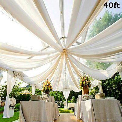 White 40 x 10 ft Premium Sheer Voile BACKDROP CURTAIN Drapes Party Decorations